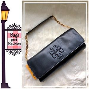 TORY BURCH Black Bombe Leather Convertible Clutch